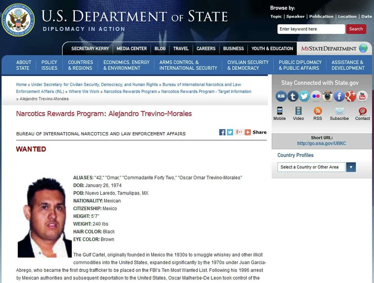 Picture of a website of the US Department of State showing the Mexican drug kingpin known as