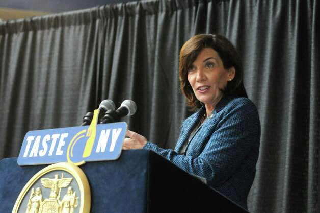 """Lieutenant Governor Kathy Hochul, right, speaks during an announcement of a Farm to Fan initiative designed to support local agriculture and enhance the """"Taste NY"""" experience for visitors at the Times Union Center on Wednesday March 4, 2015 in Albany, N.Y.  (Michael P. Farrell/Times Union) Photo: Michael P. Farrell / 10030871A"""