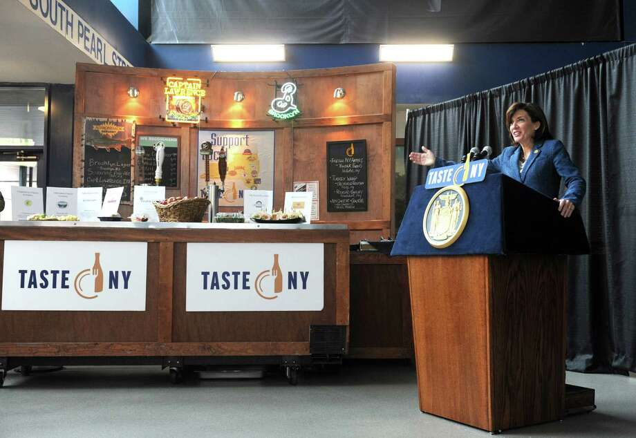 "Lieutenant Governor Kathy Hochul, right, speaks during an announcement of a Farm to Fan initiative designed to support local agriculture and enhance the ""Taste NY"" experience for visitors at the Times Union Center on Wednesday March 4, 2015 in Albany, N.Y.  (Michael P. Farrell/Times Union) Photo: Michael P. Farrell / 10030871A"