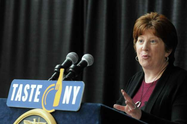 """Albany Mayor Kathy Sheehan speaks during an announcement of a Farm to Fan initiative designed to support local agriculture and enhance the """"Taste NY"""" experience for visitors at the Times Union Center on Wednesday March 4, 2015 in Albany, N.Y.  (Michael P. Farrell/Times Union) Photo: Michael P. Farrell / 10030871A"""