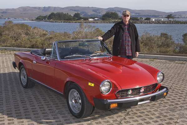 Photos of William Clark and his 1979 Fiat Spider Convertible photographed at Campbell Cove in Bodega Bay, California on January 5, 2015.