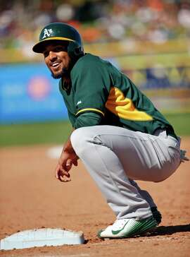 Oakland Athletics' Marcus Semien after 2-run single against San Francisco Giants in Spring Training Cactus League game at Scottsdale Stadium in Scottsdale, Arizona, on Wednesday, March 4, 2015.