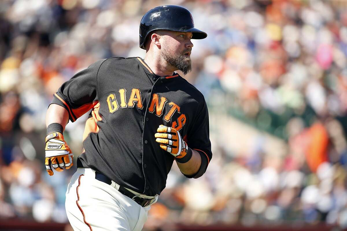 San Francisco Giants' Casey McGehee singles in 2nd inning against Oakland Athletics in Spring Training Cactus League game at Scottsdale Stadium in Scottsdale, Arizona, on Wednesday, March 4, 2015.