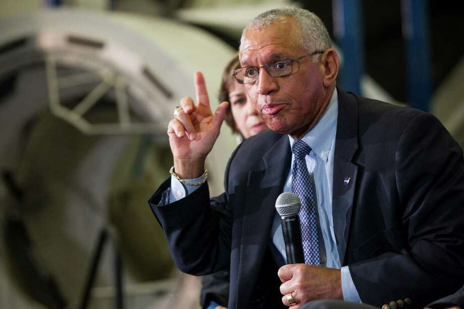Charles Bolden, NASA administrator, answers a question during a news conference at NASA's Johnson Space Center on Monday, Jan. 26, 2015, in Houston. NASA, Boeing and SpaceX discussed commercial crew development and test plans for launching American astronauts from the United States by 2017. ( Brett Coomer / Houston Chronicle ) Photo: Brett Coomer, Staff / © 2015 Houston Chronicle