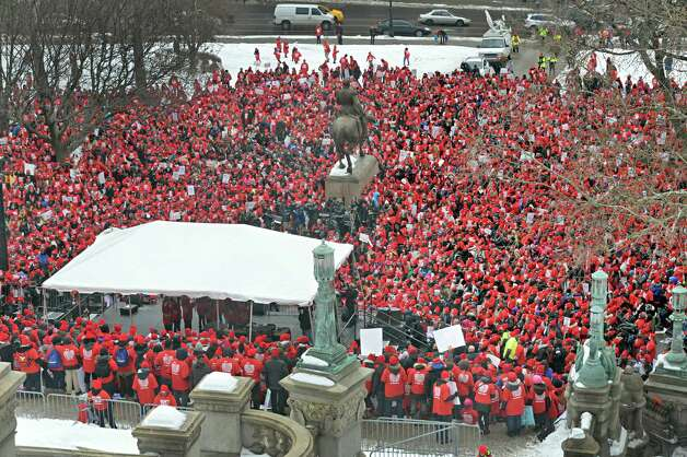 Thousands fill East Capitol Park for a pro-charter school rally Wednesday, March 4, 2015, in Albany, N.Y.  (John Carl D'Annibale / Times Union) Photo: John Carl D'Annibale / 00030815A