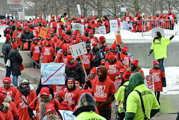 Children are lead across the Empire State Plaza on their way to the pro-charter school rally at the Capitol Wednesday March 4, 2015 in Albany, NY.  (John Carl D'Annibale / Times Union) Photo: John Carl D'Annibale / 00030815A
