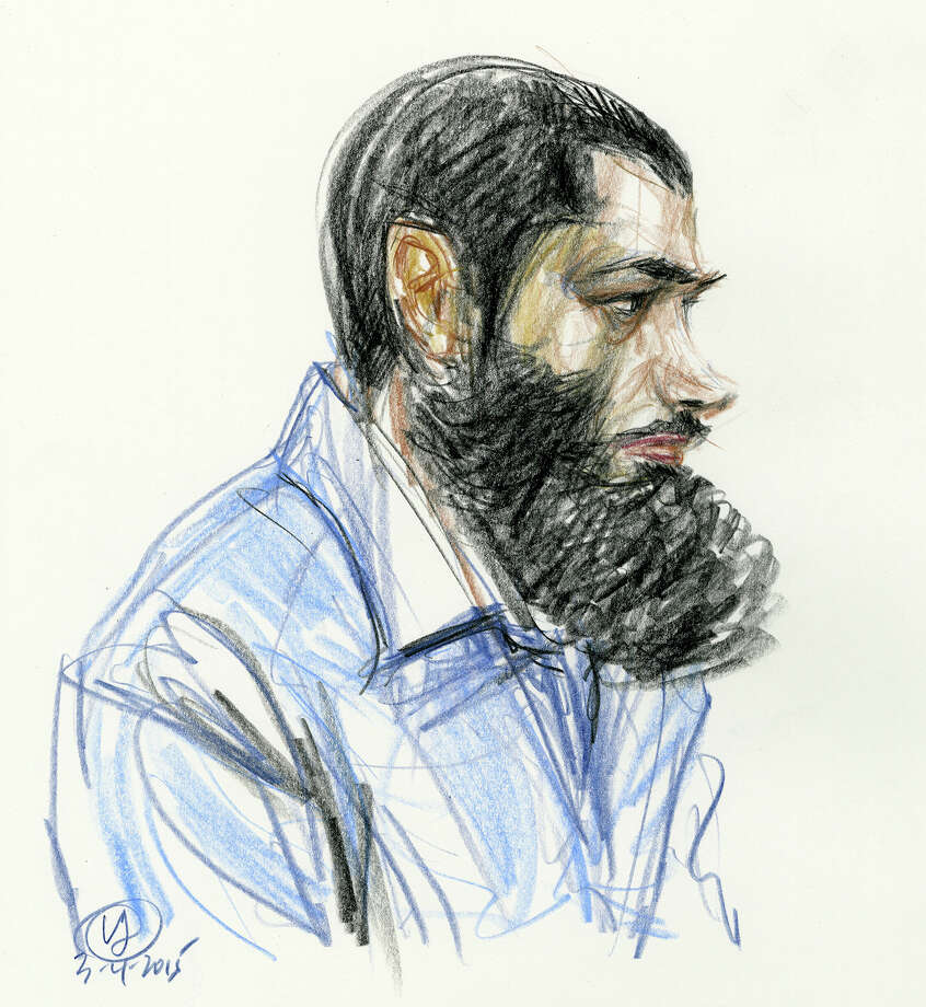 In this courtroom drawing Abid Naseer listens to the guilty verdict against him in federal court Wednesday, March 4, 2015, in the Brooklyn borough of New York.  The jury found Naseer, who acted as his own lawyer, guilty in a failed al-Qaida bomb plot after a trial that featured spies in disguise, evidence from the raid on Osama bin Laden's compound and the defendant's questioning of an admitted co-conspirator. (AP Photo/Victor Juhasz) Photo: Victor Juhasz, FRE / Associated Press / FRE 171299 AP