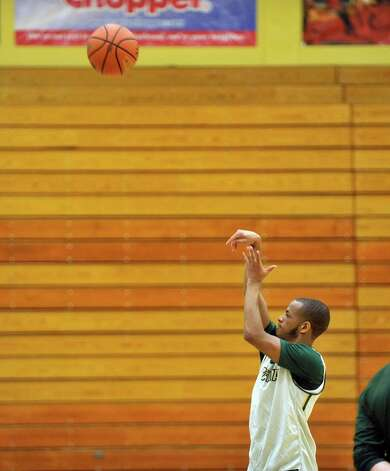 Evan Hymes takes part in a shooting drill during Siena men's basketball practice at the college on Wednesday, March 4, 2015, in Loudonville, N.Y.   (Paul Buckowski / Times Union) Photo: PAUL BUCKOWSKI / 10030860A