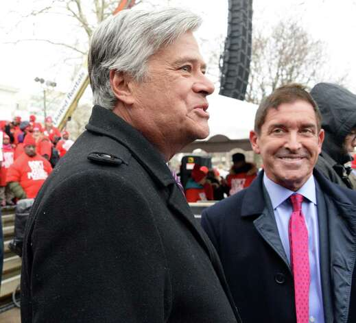 Senate Majority Leader Dean Skelos, left, Sen. Jeffrey Klein, Independent Democratic Conference Leader, speak during a pro-charter schools rally at the Capitol Wednesday, March 4, 2015, in Albany, N.Y.  (John Carl D'Annibale / Times Union) Photo: John Carl D'Annibale / 00030815A