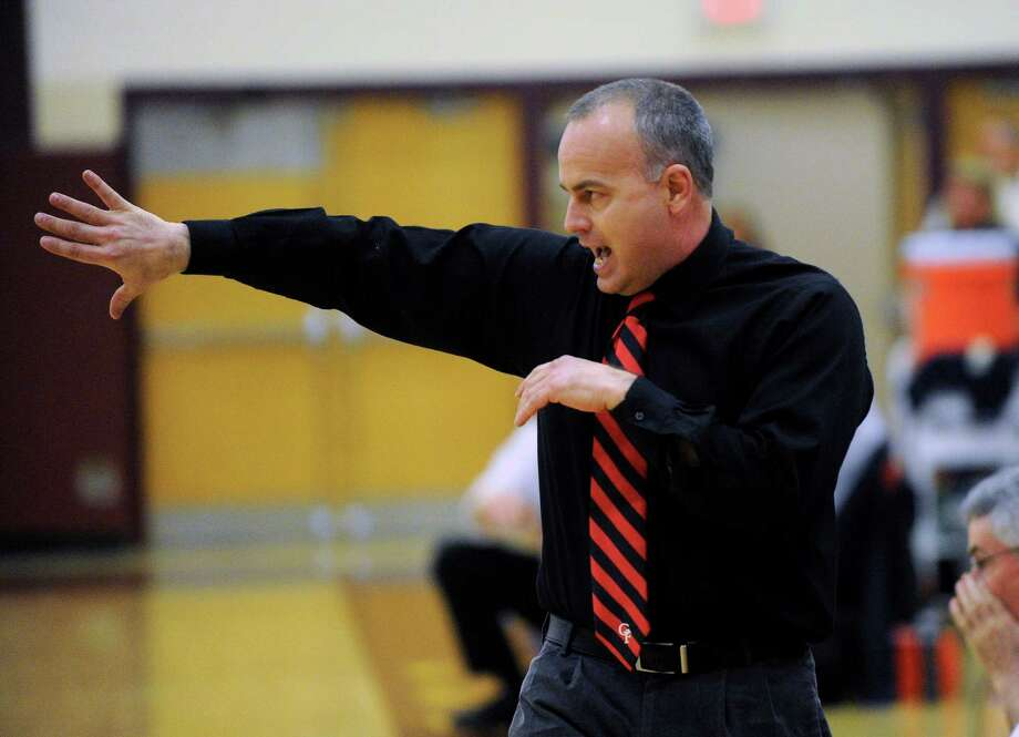 Glens Falls' head coach Mark Girard instructs his players against Averill Park during their Section II Class A Girls' Semifinal High School Basketball game in Colonie, N.Y., Wednesday, March 4, 2015. (Hans Pennink / Special to the Times Union) ORG XMIT: HP101 Photo: Hans Pennink / 00030838A