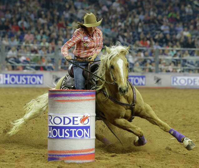 Brittany Pozzi Of Victoria Competes In Barrel Racing