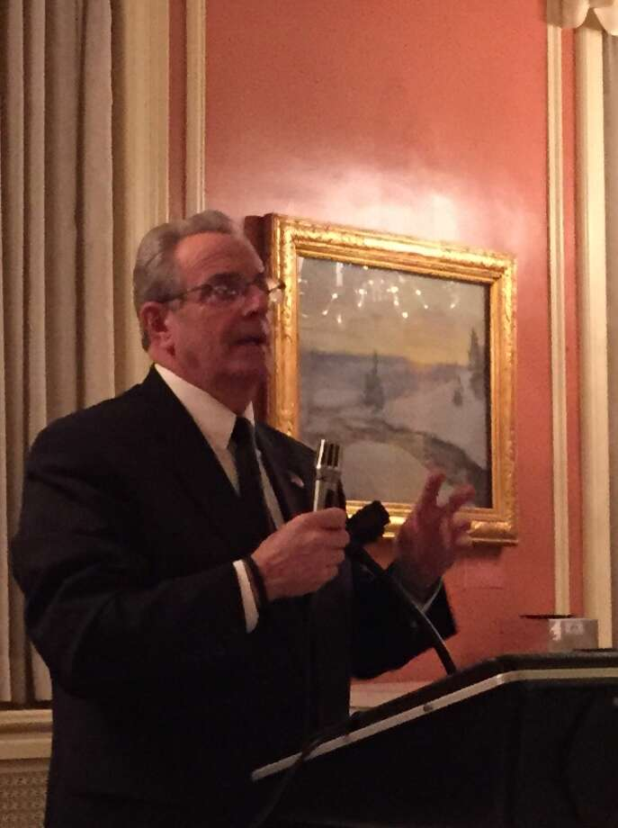 "Troy Mayor Lou Rosamilia speaks to the audience at Wednesday's gathering of the RFK Democratic Club in Albany. Earlier in the day, Rosamilia's spokesman told Times Union columnist Chris Churchill that Rosamilia was too ""under the weather"" to speak to a cancer patient whose home has been without water service for more than a week. (Facebook)"