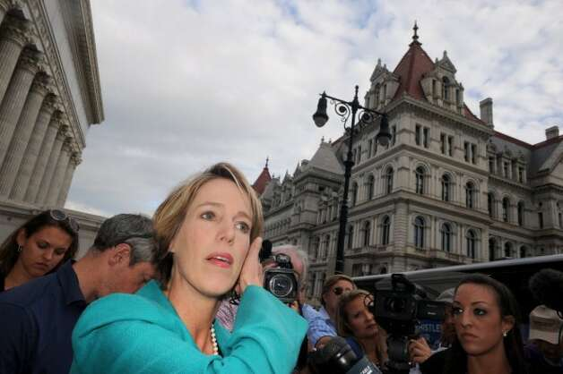 Democratic candidate for New York Governor Zephyr Teachout, left, makes a campaign stop at the State Education Building on Thursday Aug. 28, 2014 in Albany, N.Y. (Michael P. Farrell/Times Union)