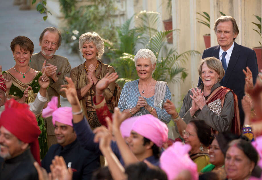 "Above: Celia Imrie (left), Ronald Pickup, Diana Hardcastle, Judi Dench, Maggie Smith and Bill Nighy are part of an all-star British cast in ""The Second Best Exotic Marigold Hotel.""   At left: Lillete Dubey plays the hotelier's mother and Richard Gere is a new guest. Photo: Laurie Sparham / Laurie Sparham / Fox Searchlight Films / Fox Searchlight Films"