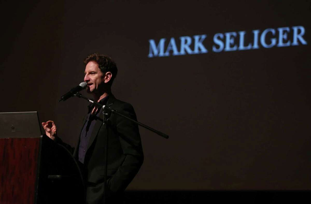 Documentary portrait photographer Mark Seliger, HSPVA alumnus, speaks to HSPVA seniors at the Houston school on Tuesday, Feb. 24, 2015.