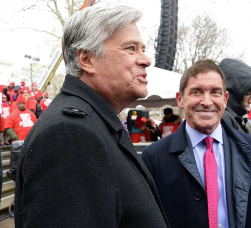 Senate Majority Leader Dean Skelos, left, and Sen. Jeffrey Klein, Independent Democratic Conference Leader, speak during a pro-charter rally at the Capitol Wednesday, March 4, 2015, in Albany, NY.  (John Carl D'Annibale / Times Union) Photo: John Carl D'Annibale, Albany Times Union / 00030815A
