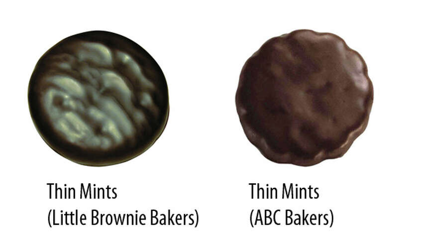 Sold in Dallas & San Antonio: Thin Mints by Little Brownie Bakers  Sold in Austin, Houston, Fort Worth, Rio Grande Valley & El Paso: Thin Mints by ABC Bakers