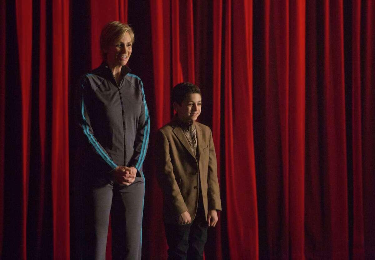 "Jane Lynch and J.J. Totah in ""Glee."""