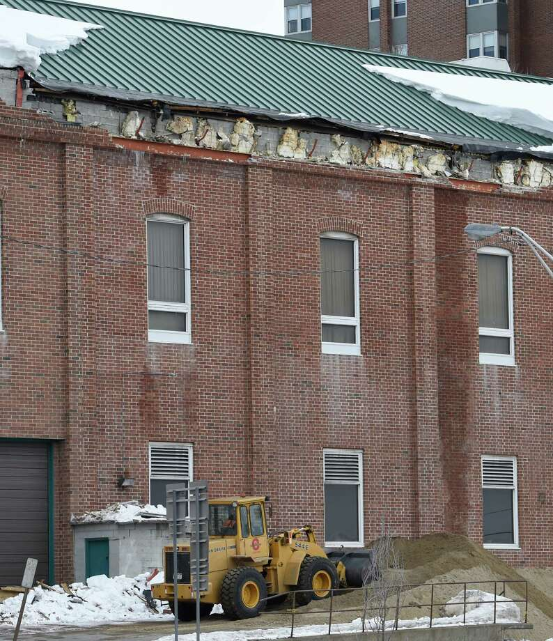 Damage to the south side of the Glens Falls Civic Center is apparent Thursday afternoon March 5, 2015 in Glens Falls, N.Y.    (Skip Dickstein/Times Union) Photo: SKIP DICKSTEIN / 00030899A
