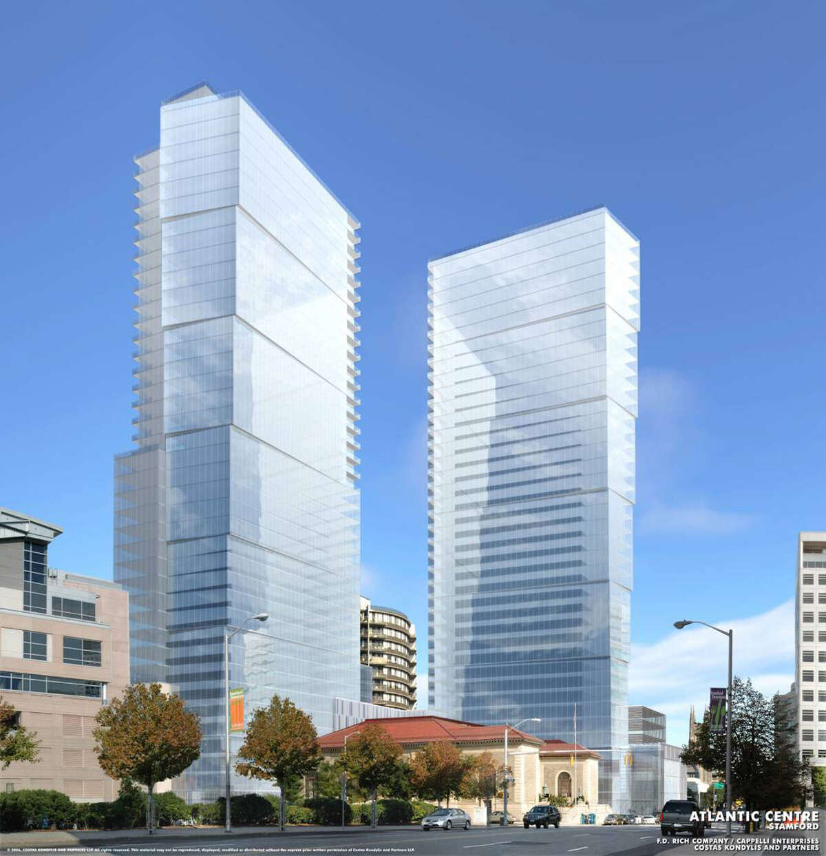 An artist rendering of one of the proposed Atlantic Centre development possibilities. at the intersection of Atlantic Street and Tresser Boulevard. Developers Thomast Rich and Louis Cappelli planned on building a Ritz-Carlton with 289 condominiums, 198 hotel rooms, and 68,000 square feet of retail space, but city zoning officials denied their application to extend the permit for the project. Contributed art