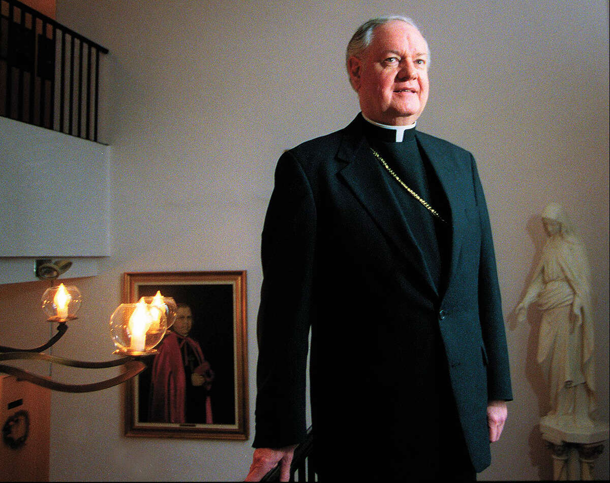 Bishop Edward Egan at the Catholic Center in Bridgeport, Conn. in February 1999. He is celebrating his tenth year as head of the Diocese of Bridgeport. Bridgeport, Feb. 18, 1999.