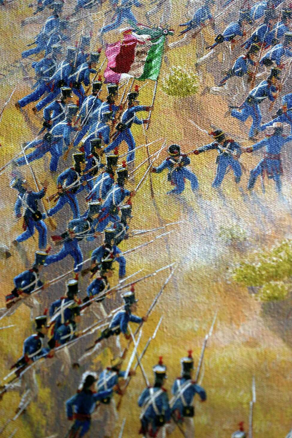 A detail is seen Thursday Match 5, 2015 of artist Mark Lemon, one of the leading modern artists whose works focus on the Alamo mission and battle site, titled ?'The Storming of the Alamo, March 6, 1836,?