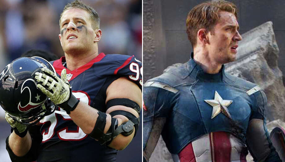 NFL stars as comic book superheroesWebsite NFL Memes has turned some of our favorite NFL stars into superheroes. Naturally Houston Texans star J.J. Watt is Captain America.Check out these NFL stars as they might appear in comics and on the big screen ... Photo: Karen Warren ,  Marvel Studios