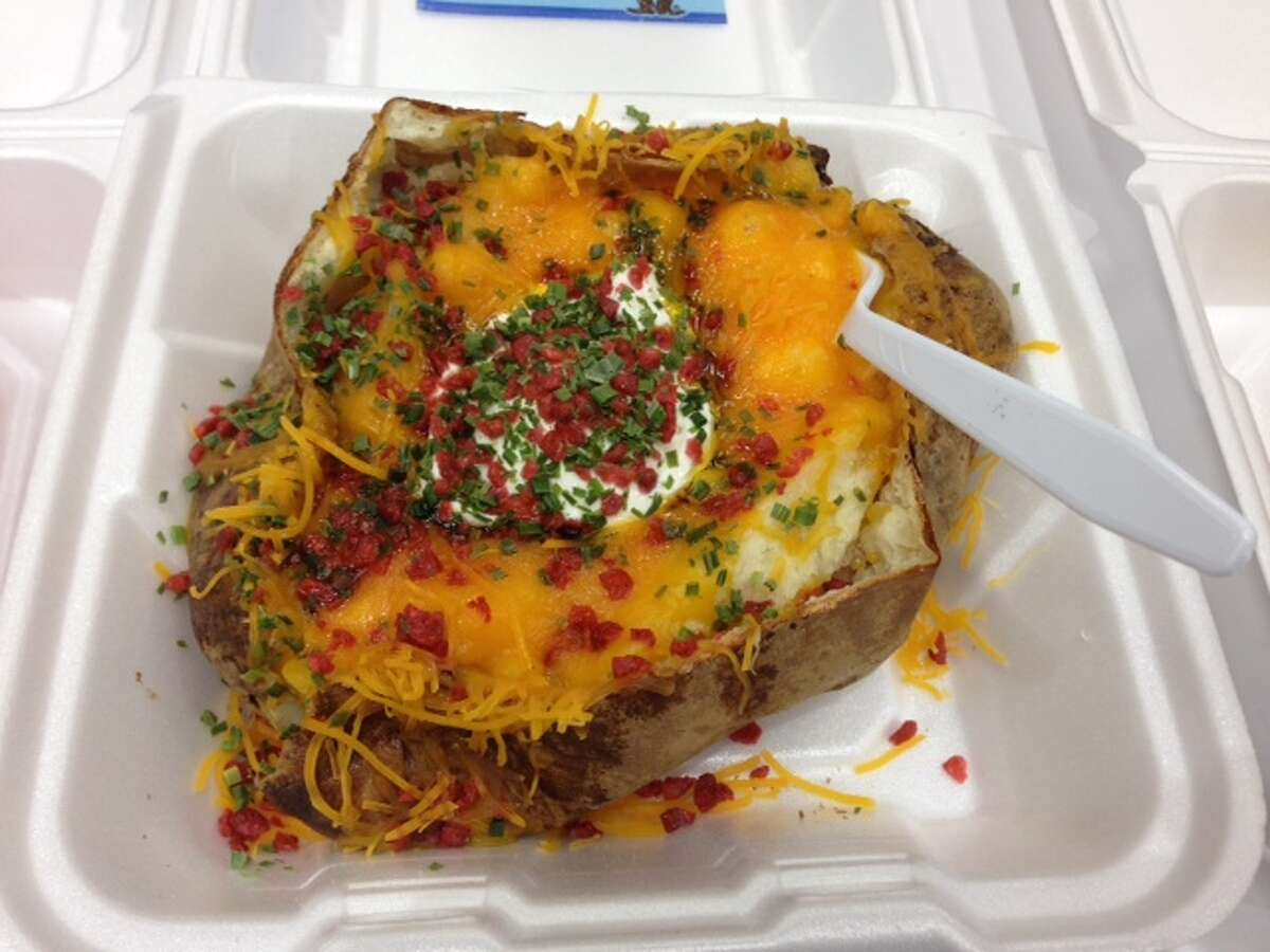 Loaded baked potato, one of the entries in the 2014 Gold Buckle Foodie Awards for best carnival good at the Houston Livestock Show and Rodeo.