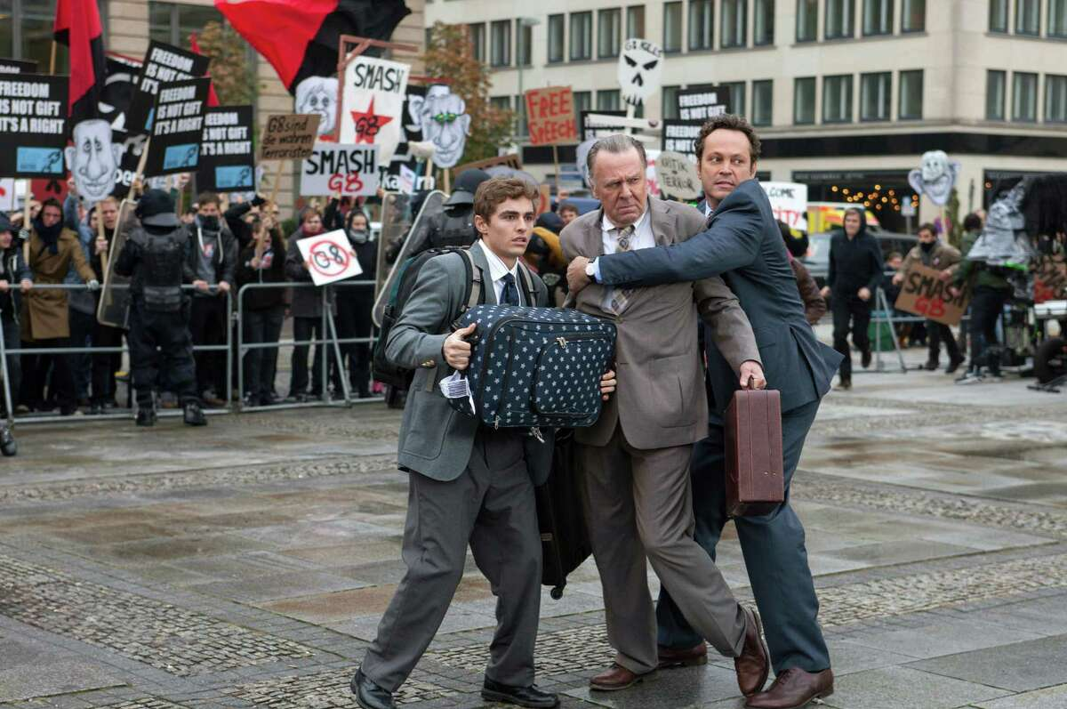 """This image released by 20th Century Fox shows, from left, Dave Franco, Tom Wilkinson and Vince Vaughn in a scene from """"Unfinished Business."""" (AP Photo/20th Century Fox, Jessica Miglio) ORG XMIT: NYET128"""