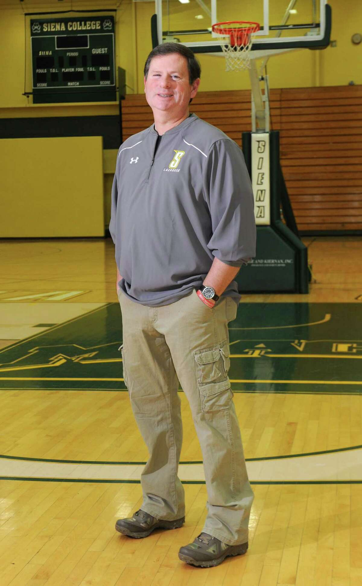 Siena's athletic trainer Greg Dashnaw stands on the basketball court at Siena College on Monday Feb. 23, 2015 in Loudonville, N.Y. (Lori Van Buren / Times Union)