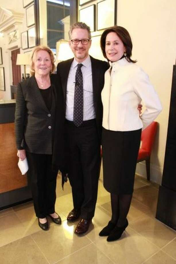 Julie Greenwood and Linda King welcomed Michael Boodro to The Lobby event. Photo: Courtesy Of Greenwood King Properties