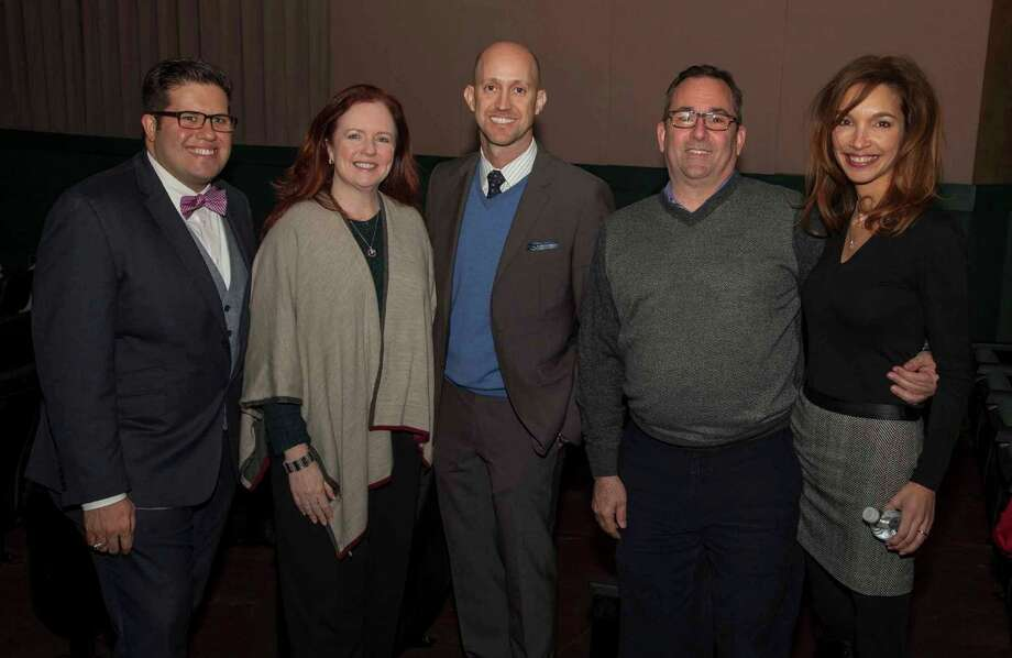Shown at the event, from left, are Brandon Buras, Houston Chronicle; Amy McGee, Coldwell Banker United, Realtors; Mike Mahlstedt, Heritage Texas Properties; Bob Alban, Coldwell Banker United, Realtors; and Cindy Johnson, Houston Chronicle. Photo: Jeremy Carter