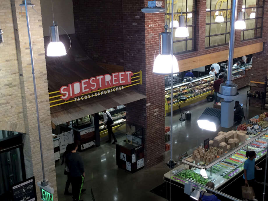 """Whole Foods' """"Sidestreet"""" -- a European street marketplace, only indoors and wrapped inside a big-box store. Photo: Raj Mankad / Cite Magazine"""