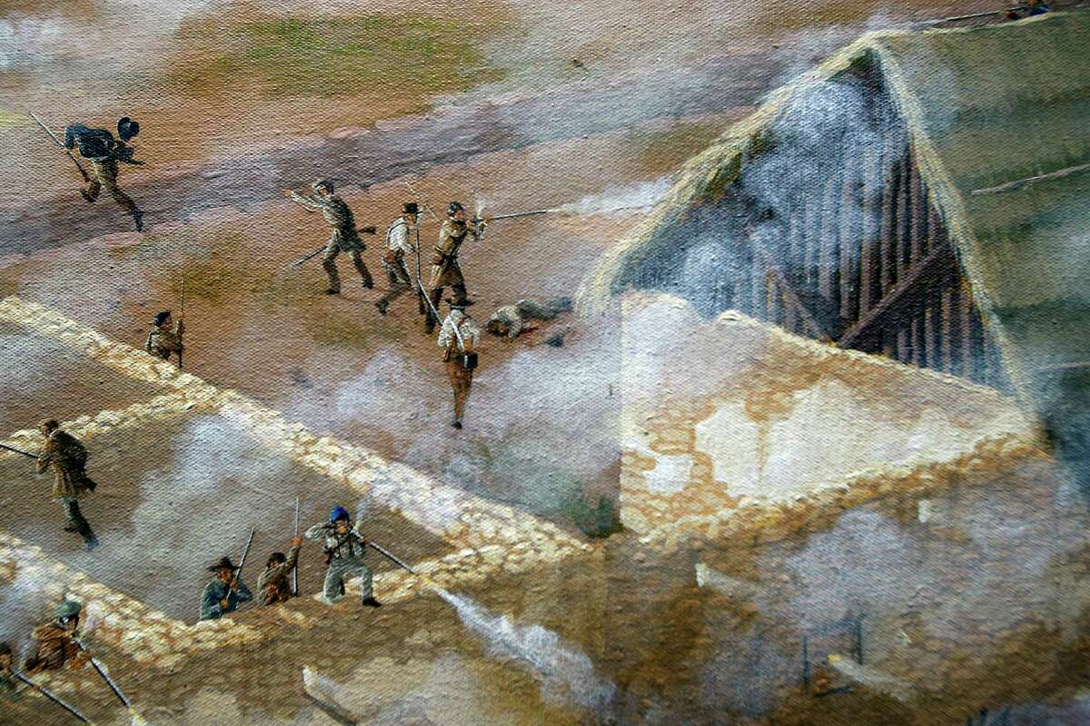"""A detail is seen Thursday Match 5, 2015 of artist Mark Lemon, one of the leading modern artists whose works focus on the Alamo mission and battle site, titled ?'The Storming of the Alamo, March 6, 1836,?"""" said to be the largest, most historically accurate detailed painting of the battle, at 8 feet tall and 15 feet wide. Lemon said it took him about 3,500 hours over 14 months to do the work."""