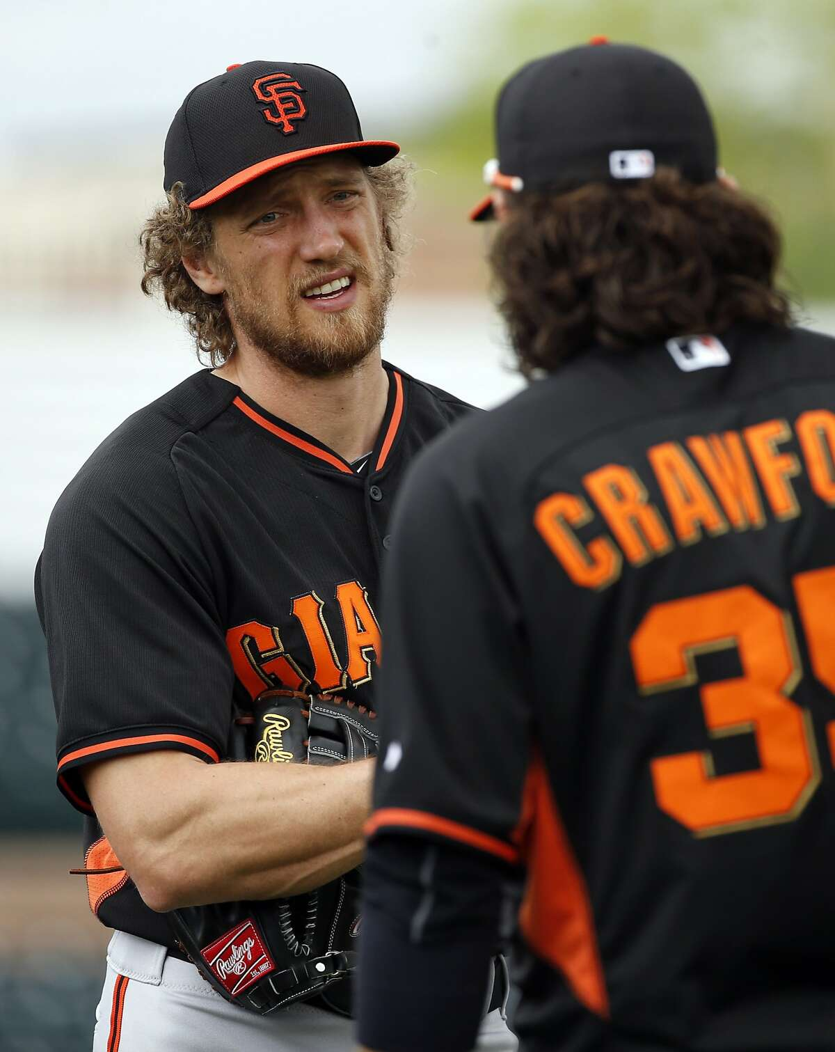 San Francisco Giants' Hunter Pence and Brandon Ceawford during Spring Training at Scottsdale Stadium in Scottsdale, Arizona, on Sunday, March 1, 2015.