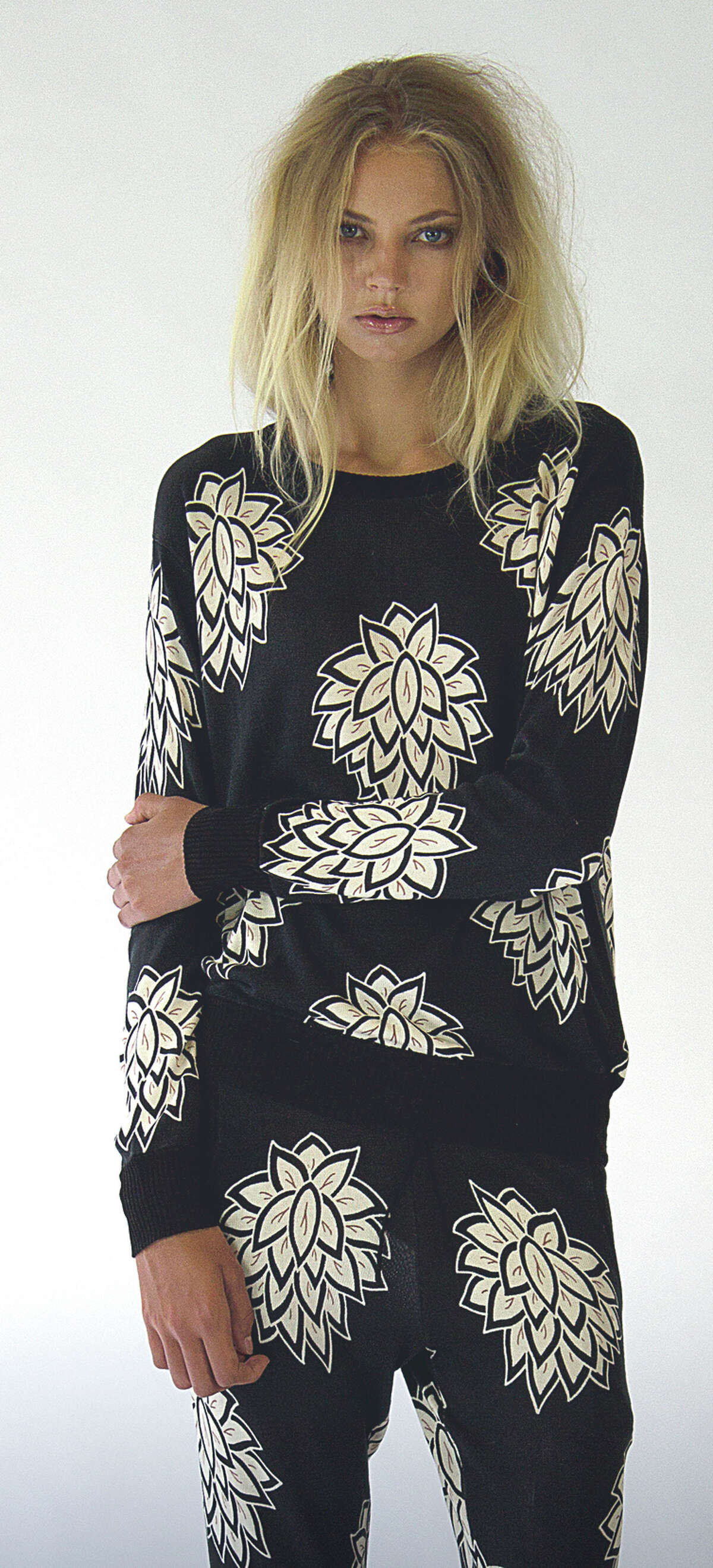 San Francisco designer Kathryn McCarron's spring collection. Elin printed floral pants, $420, and Kaye pullover, $475.