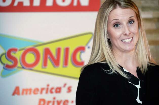 Sonic spokesperson Colleen Pierson announces details of the new Sonic Drive-In site on Troy Schenectady Road Thursday, March 5, 2015, in Colonie, NY.  (John Carl D'Annibale / Times Union) Photo: John Carl D'Annibale / 10030863A