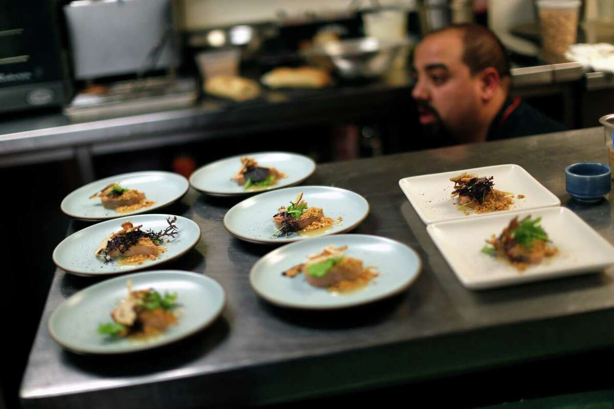 """A chef prepares Foie Gras Torchon with jerk spices an guava jelly during Dirty Habit's """"Celebration of Foie Gras"""" in San Francisco, Calif. on Wednesday, January 7, 2015."""