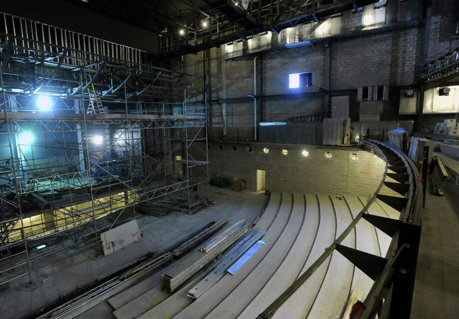 Looking out from the mezzine seating section toward the main seating area, below, and the stage, at left, of the MISA performing-arts complex, under construction, as seen during a tour of the site at Greenwich High School, Conn., Thursday, March 5, 2015. Photo: Bob Luckey / Greenwich Time