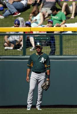 Oakland Athletics' Coco Crispo in left field against Chicago Cubs in Spring Training Cactus League game at Sloan Park in Mesa, Arizona, on Thursday, March 5, 2015.