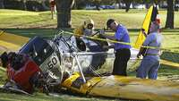 Harrison Ford crash lands vintage plane on golf course - Photo