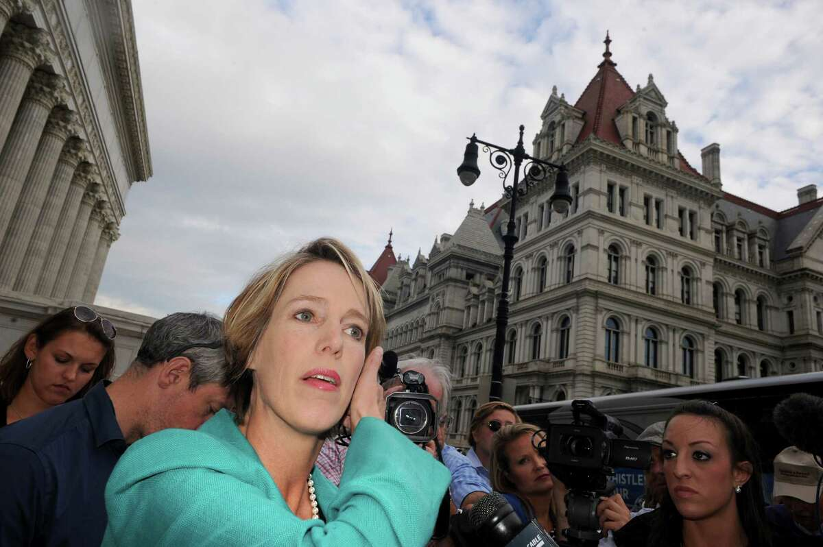 Democratic candidate for New York Governor Zephyr Teachout, left, makes a campaign stop at the State Education Building on Thursday Aug. 28, 2014 in Albany, N.Y. (Michael P. Farrell/Times Union) FARRELL2014YEAR