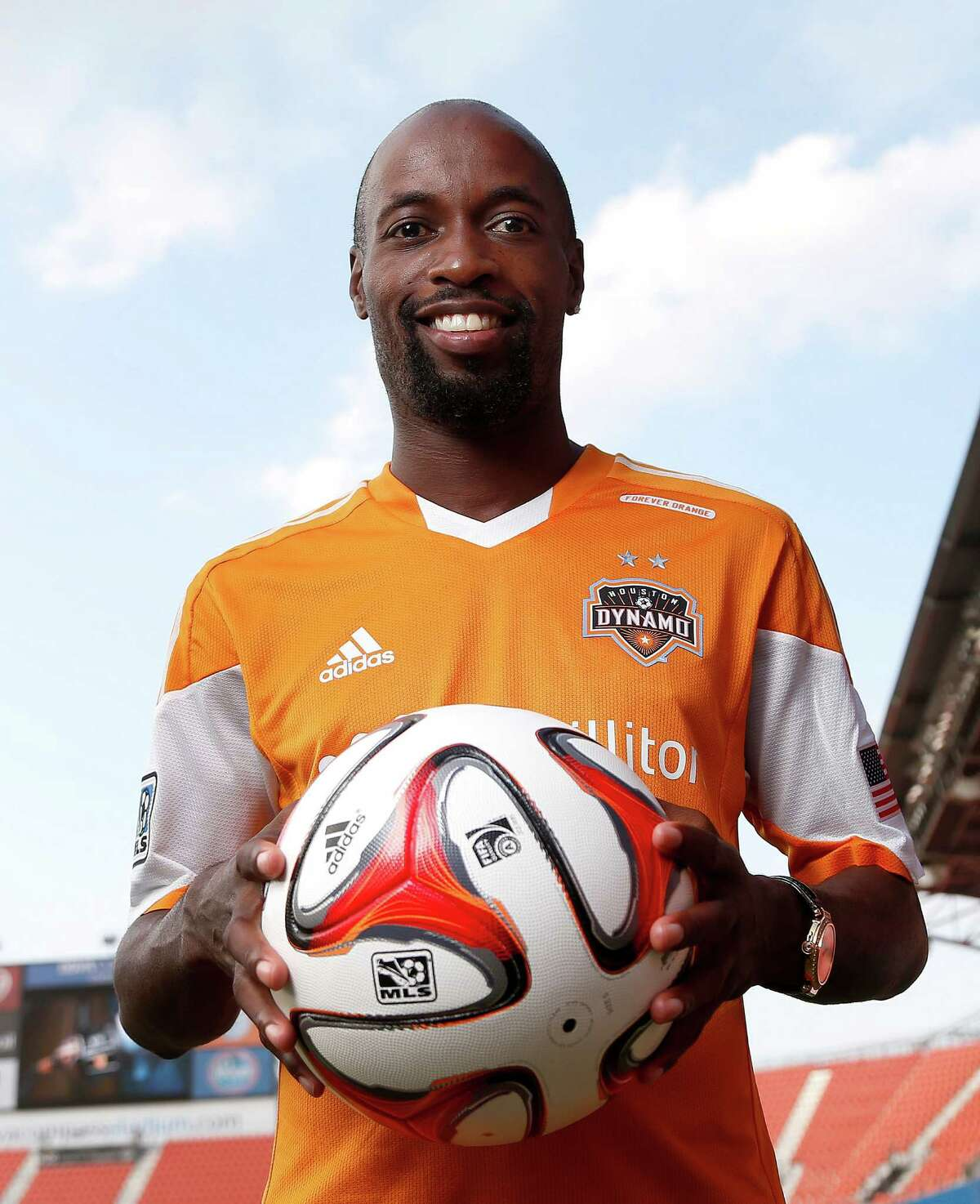Houston Dynamo's new player DaMarcus Beasley poses for a portrait after a press conference to introduce him at the BBVA Compass Stadium, Thursday, July 24, 2014, in Houston. ( Karen Warren / Houston Chronicle )