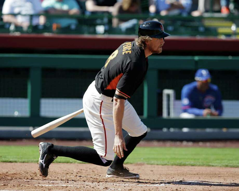 The Giants won't see any more out of Hunter Pence during spring training. An errant fastball broke the outfielder's arm, shelving him for six to eight weeks. Photo: Darron Cummings, STF / AP