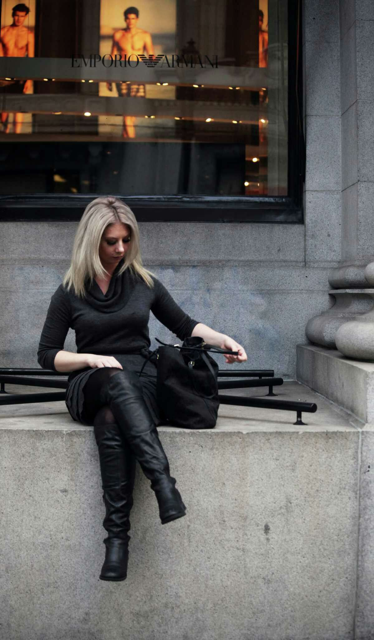 Ashley Lepesh perches in front of the Armani Imports building in the Financial District.