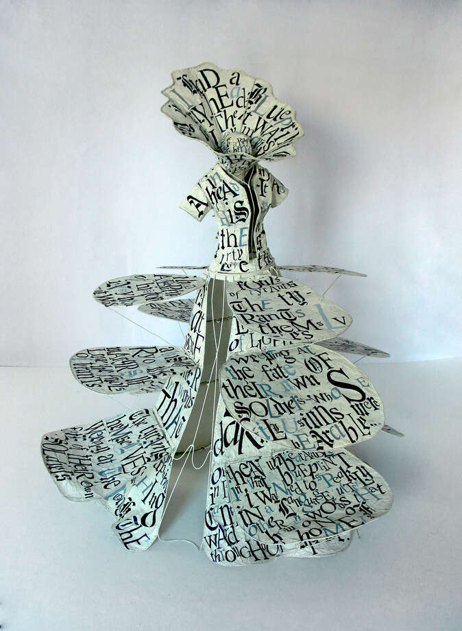 Lesley Dill, Gown of Blueprint, 2014, hand-painted metal with oil paint on metal armature (Skidmore College)