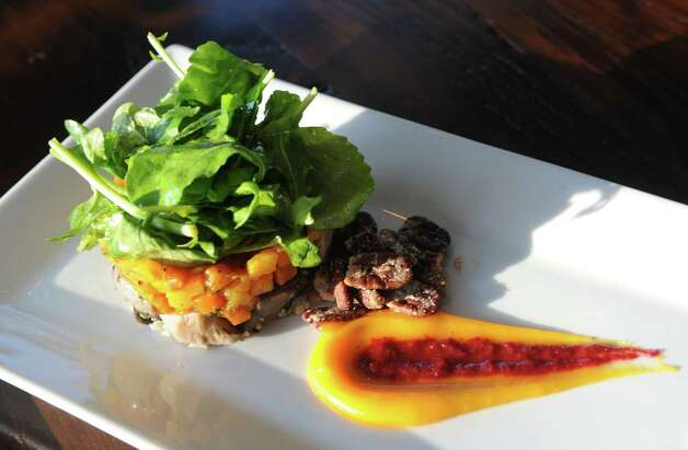 Oyster mushroom butternut squash  salad at The Flammerie on Wednesday Feb. 25, 2015 in Kinderhook, N.Y. (Michael P. Farrell/Times Union) Photo: Michael P. Farrell / 00030744A
