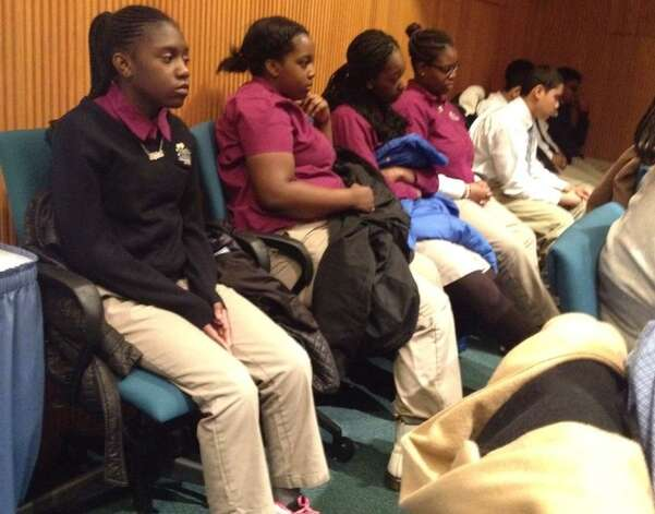 Brighter Choice charter school students listen as the SUNY Charter School committee meets Friday, March 6, 2015, in Albany, NY. (John Carl D'Annibale/Times Union)