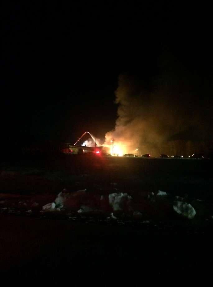 A building burned Thursday night inside the Bethlehem Industrial Park in Selkirk Thursday night. (Kathleen McNessor / Special to the Times Union)
