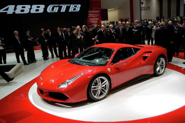 The new Ferrari 488 GTB is presented on the first press day of the Geneva International Motor Show Tuesday, March 3, 2015 in Geneva, Switzerland. The show opens its doors to the public March 5 through March 15.